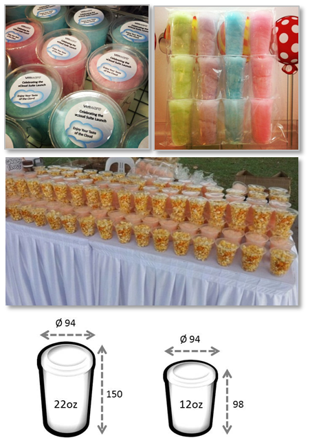 Candy floss & Popcorn in heat sealed cups
