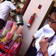 Student queuing for cotton candy.